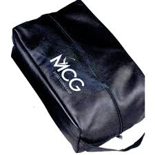 custom logo leather golf shoe bag w inner pouch image for gallery