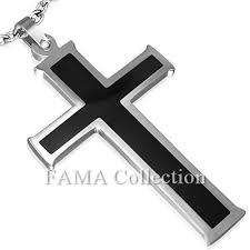Necklace Width Chart Details About Fama Stainless Steel 2 Tone Black Cross