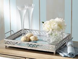 Decorative Trays For Bedroom Amazon Alexis Silver Mirror Vanity Tray Home Kitchen 16