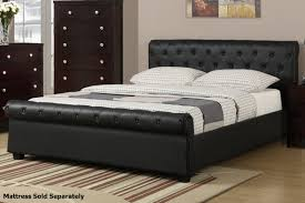 Queen Size Bedroom Furniture Poundex F9246q Black Queen Size Leather Bed Steal A Sofa
