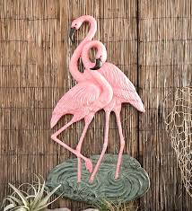 flamingo outdoor decor flamingo outdoor decor super aluminum flamingo wall art two flamingos metal wall metal flamingo outdoor decor pink