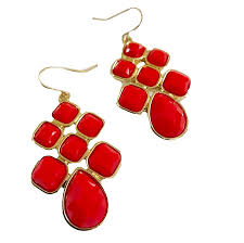 cardinal and gold faceted cabochon chandelier earrings