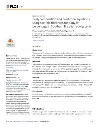 Bod Pod Results Chart Pdf Body Composition And Prediction Equations Using