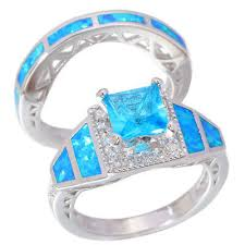 <b>Gift</b> ! Blue Fire Opal Aquamarine CZ <b>Women Jewelry Gems</b> Silver ...