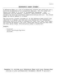 Gallery Of Reference Page Format Job References Letter Resume Sevte