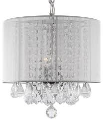 white crystal chandelier with white shade