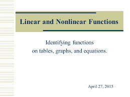 linear and nar functions identifying functions on tables graphs and equations