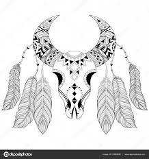 Zentangle Boho Animal Skull With Bird Feathers American Ethnic