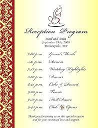 wedding reception agenda template sample wedding reception program ceremony for template dj piliapp co