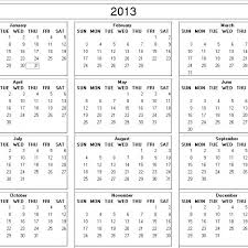 printable year calendar 2013 only one of me free year at a glance printable calendar via 2013