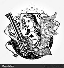Tattoos Casino Designs Wild West Tattoo And T Shirt Design Revolver Playing Cards