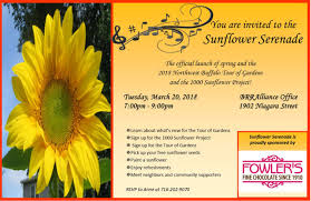 alliance brra invites you to attend an event that celebrates spring and the antition of the lush gardens to come guests will be given sunflower