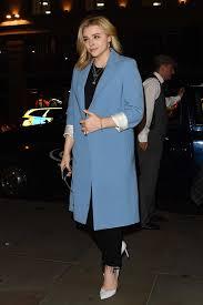 Blue Coat Chloe Grace Moretz Wears A Powder Blue Coat And Black Trousers As