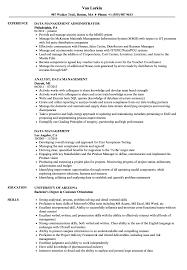 Data Management Resume Sample Data Management Resume Samples Velvet Jobs