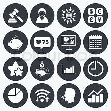 Calendar Wifi And Clock Symbols Like Counter Stars Symbols Money
