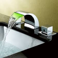 victoria contemporary waterfall widespread sink faucet double square handles in chrome