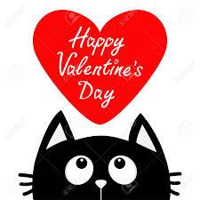 Joyeuse Saint Valentin Chat Noir Regardant Le Gros Coeur Rouge