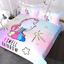 cute unicorn bedding i smell rainbow duvet cover purple yellow pink blue bedspreads cartoon bed double this star unicorn double duvet cover