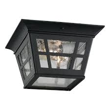 Shop Sea Gull Lighting Herrington In W Black Outdoor Flush - Flush mount exterior light fixtures