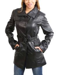 womens real leather black trench coat waist belt mid length fitted parka jacket 12