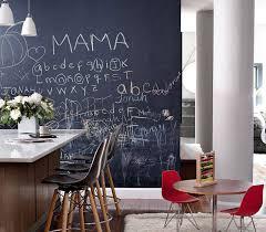 midcentury modern kitchen with chalkboard wall