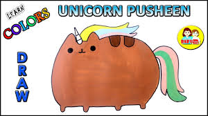 Unicorn Pusheen Coloring Page For Kids Color Learning Videos For
