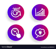 360 Degrees Time Management And Graph Chart Icons