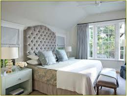 King Size Custom Bed With Beige Microfiber Tall Tufted Headboard Using  Brown Valance And White Blanket