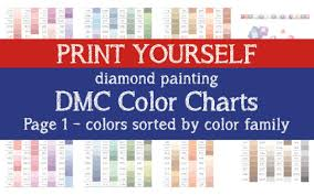 Print Yourself 2 In 1 Dmc Color Chart Diamond Painting Drill Color Charts Dmc Color Card
