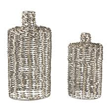 Silver Leaf Decoration Twisted Metal Work 18 In And 25 In Decorative Vases In Silver
