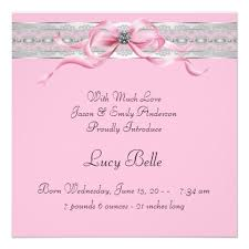 Announcement For Baby Girl Pearls Pink Baby Girl Photo Birth Announcement Superdazzle