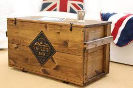coffee table chest wooden box vintage