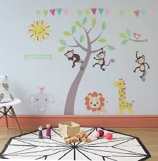 small size pink theme as shown direction pastel jungle animal wall stickers