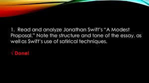your modest proposal assignment outline ppt video online and analyze jonathan swift s a modest proposal