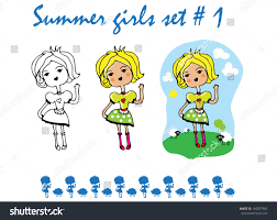 Tattoo Girl Summer Doll Icons Sticker Stock Vector Royalty Free