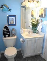 beach inspired lighting. Small And Narrow Beach Inspired Bathroom Design Painted With Light Blue Wall Interior Color Decoration Lighting Above Mirror White Wooden Vanity