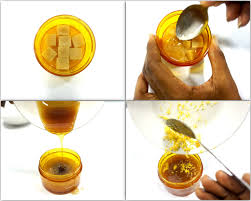 collage image of steps to make diy brown sugar honey face scrub by lifestyle blogger cassie