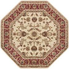 tayse rugs sensation beige 5 ft octagon transitional area rug 4792 ivory 6 octagon the home depot