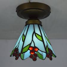 Tiffany Small Ceiling Light Stained Glass Lampshade Country Style Kitchen  Lighting E27 110 240V(