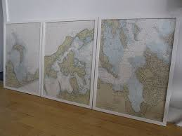 Framed Nautical Charts Nautical Chart Map Wall Art