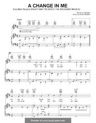 a change in me beauty and the beast sheet music a change in me from beauty and the beast the broadway musical