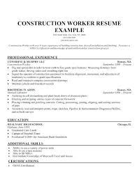 Civil Construction Foreman Resume Examples Sample Example Worker For