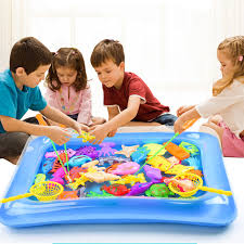 <b>40pcs</b>/<b>lot Magnetic Fishing</b> Toy With Inflatable Pool Rod Net Set For ...