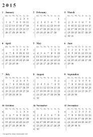 Printable 2015 Calendars By Month Printable Calendar 2015 Weeks Start On Monday With Week