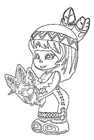 American Indian Girl Coloring Pages For Kids With Thanksgiving