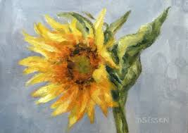 young sunflower oil painting