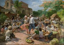 fernando amorsolo tinikling in barrio 1951 oil on canvas by fernando amorsolo