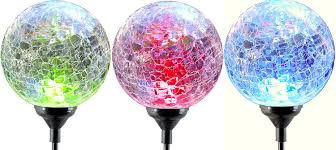moonrays led solar path lights in glass ball design with color changing feature 3 pc pack landscape path lights com