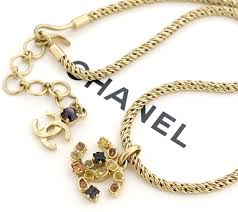 image is loading chanel cc gripoix stone pendant necklace gold tone