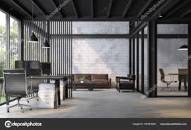 polished concrete furniture. There Are White Brick Wall,polished Concrete Floor And Black Steel Structure.Furnished With Dark Brown Leather Furniture. \u2014 Photo By Onzon Polished Furniture C